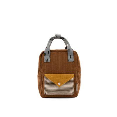 Sticky Lemon-1801814-backpack small - walnut brown + marigold + steel blue - voorkant-Popcorn kidskopie